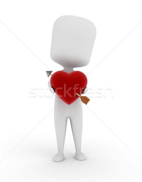 Ilustração 3d homem coração amor seta Foto stock © lenm
