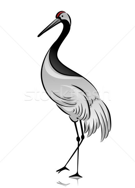 Guindaste ilustração em pé um pé Foto stock © lenm