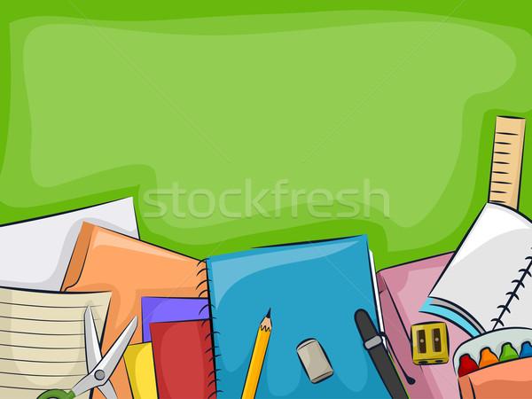 Przybory szkolne tablicy ilustracja poniżej pióro Zdjęcia stock © lenm