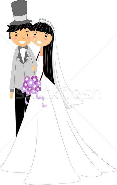 Stockfoto: Asian · illustratie · newlywed · paar · vrouw