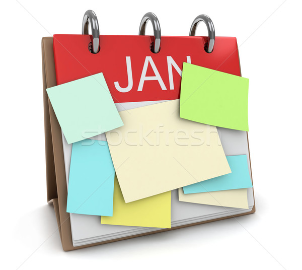Drukke 3d illustration kalender sticky notes nota cartoon Stockfoto © lenm