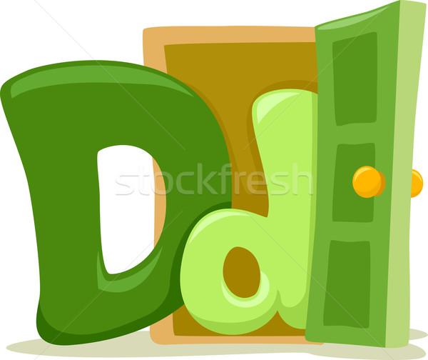 D betű illusztráció oktatás levél tanul rajz Stock fotó © lenm