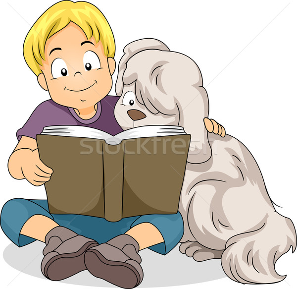 Boy Reading with His Dog Stock photo © lenm