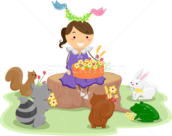 Girl with a Basket of Flowers surrounded by Cute Animals Stock photo © lenm