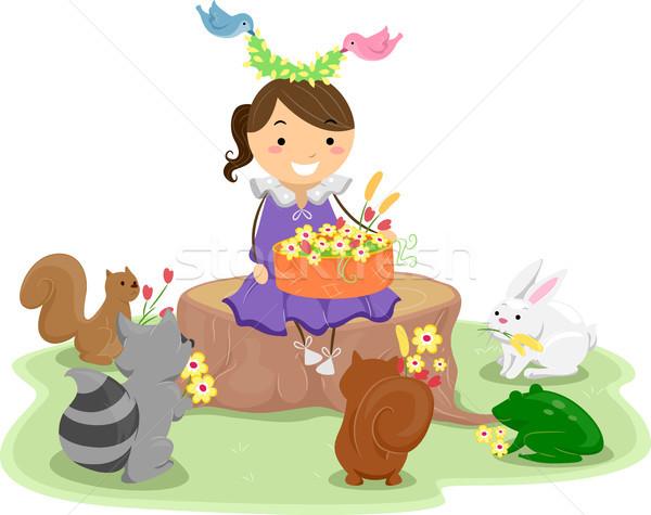 Lány kosár virágok aranyos állatok illusztráció kislány Stock fotó © lenm