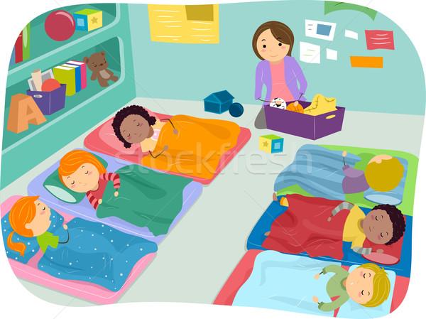 Drzemka czasu ilustracja przedszkolaki Zdjęcia stock © lenm