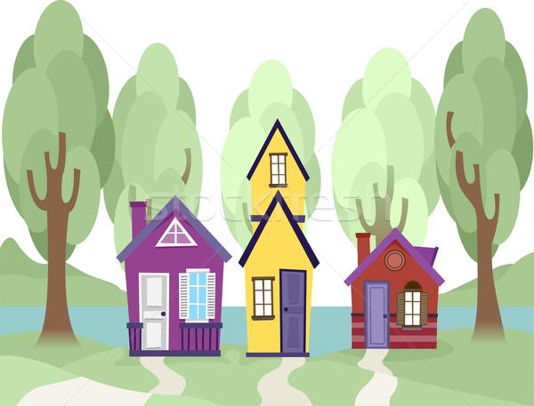 Küçücük evler örnek sevimli evleri köy Stok fotoğraf © lenm