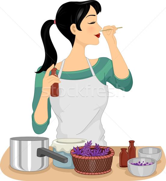 Dziewczyna organiczny perfum testowanie ilustracja kobieta Zdjęcia stock © lenm
