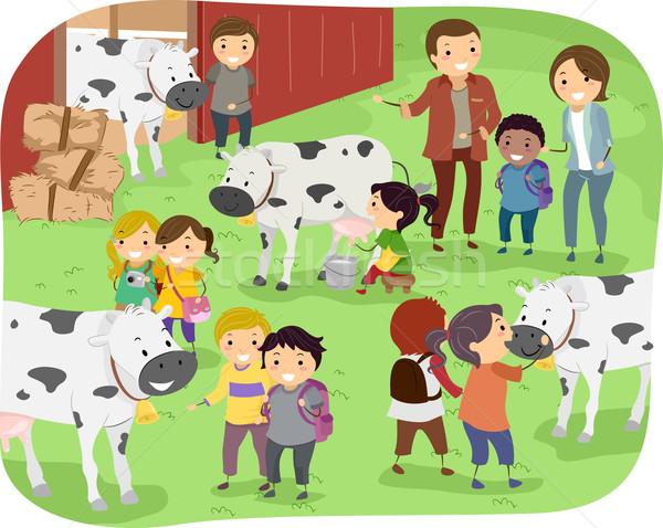 Dzieci mleczarnia gospodarstwa podróży ilustracja na zewnątrz Zdjęcia stock © lenm