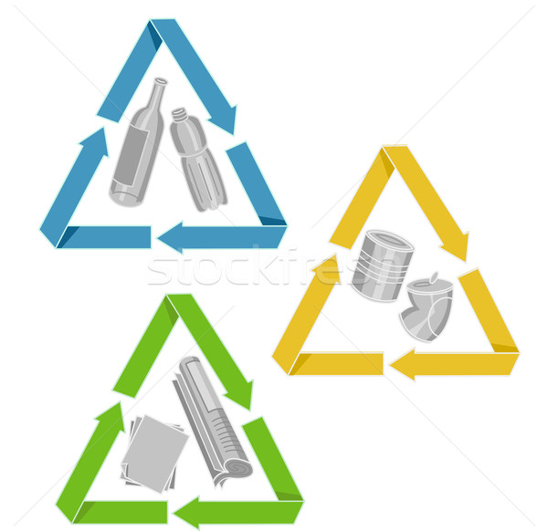 Icons Recycle Bottles Cans Papers Stock photo © lenm