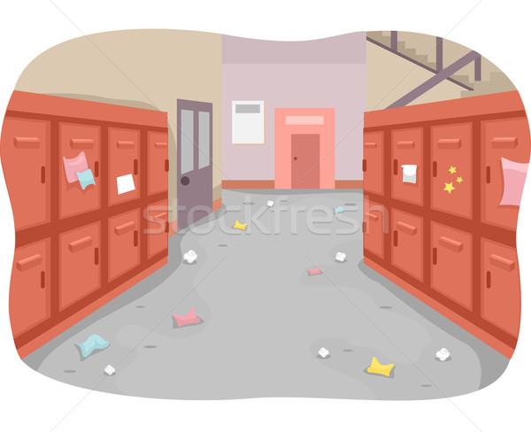 Szkoły korytarzu niechlujny ilustracja kosza Zdjęcia stock © lenm