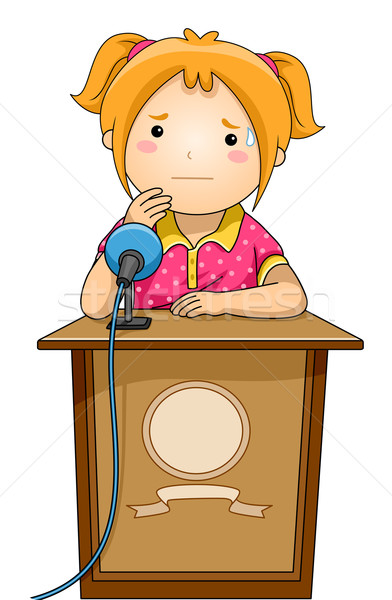 Dziecko dziewczyna podium nerwowy ilustracja stałego Zdjęcia stock © lenm