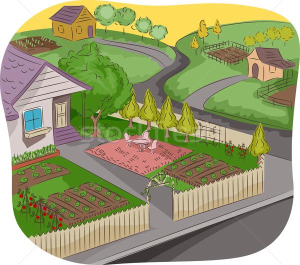 Jardin illustration maison rural Photo stock © lenm