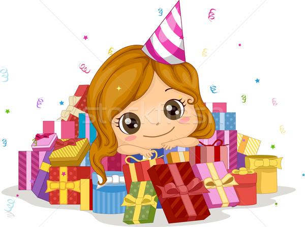 Stockfoto: Verjaardag · geschenken · illustratie · meisje · partij · kind