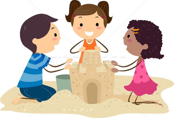 Ilustracja dzieci budynku lata piasku Zdjęcia stock © lenm