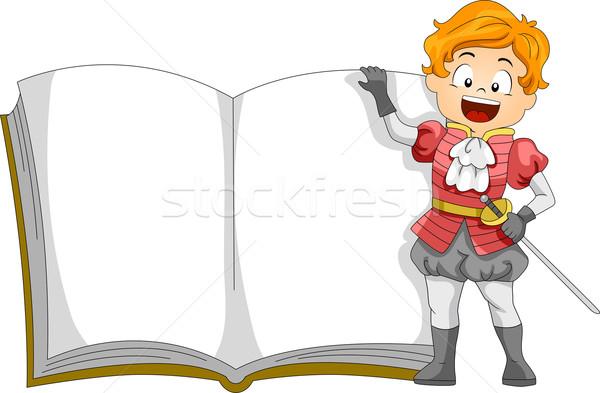 Herceg könyv illusztráció gyerek áll vmi mellett Stock fotó © lenm