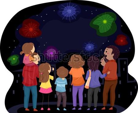 Nuovo anni illustrazione famiglia capodanno Foto d'archivio © lenm