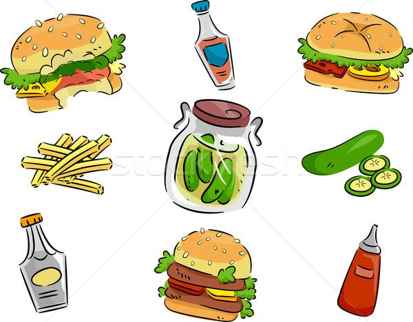 Hamburger simgeler ikon örnek salatalık turşusu Stok fotoğraf © lenm