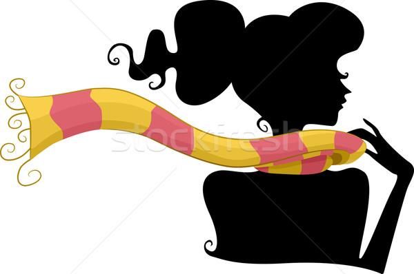 Siluet eşarp kız moda gölge Stok fotoğraf © lenm