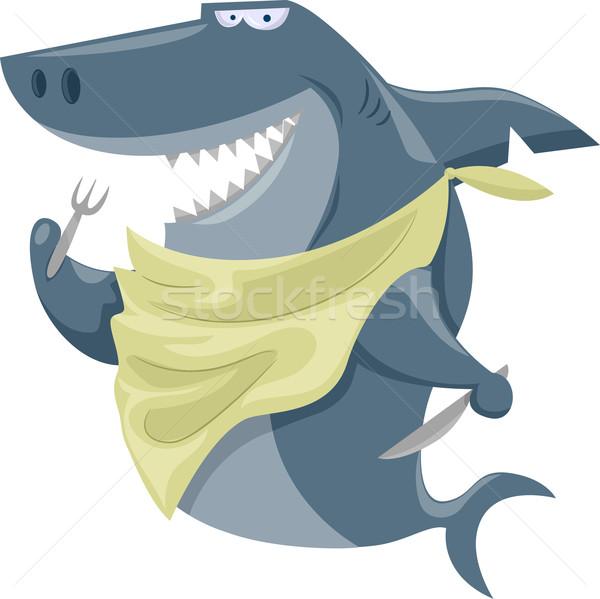 Hambriento tiburón ilustración tenedor Foto stock © lenm