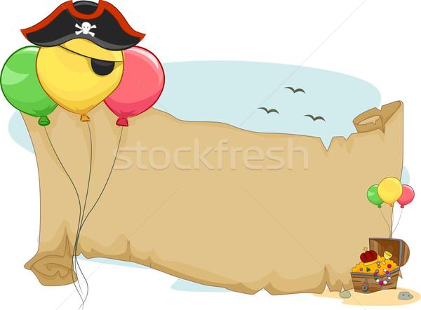 Piraten Party blättern Illustration Ballons Papier Stock foto © lenm