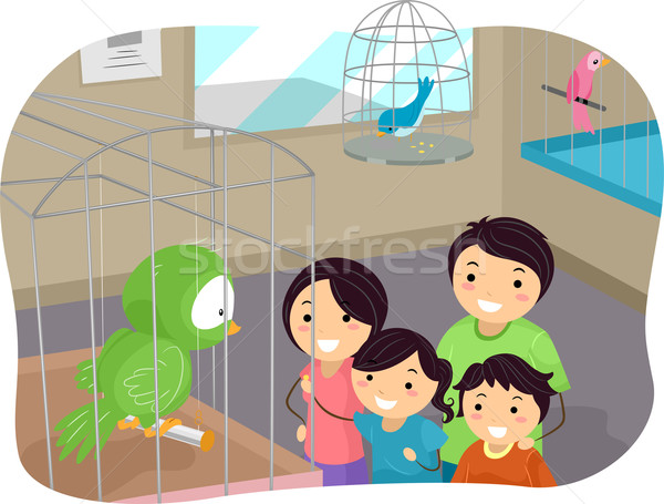 Stickman Family Buying a Bird From a Pet Store Stock photo © lenm