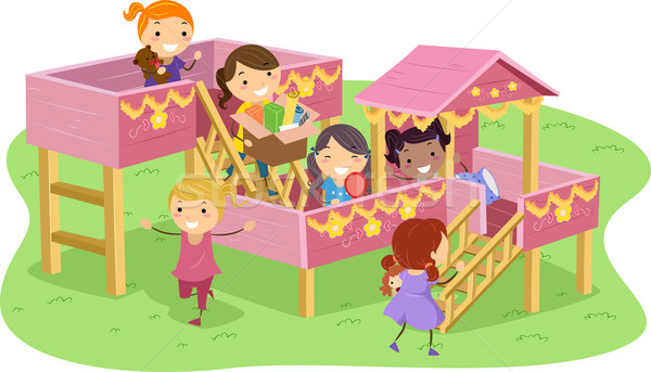 Stock photo: Stickman Girls Playhouse