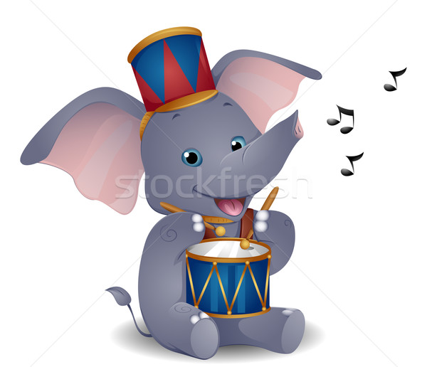 Elefante batterista musica cartoon cute Foto d'archivio © lenm