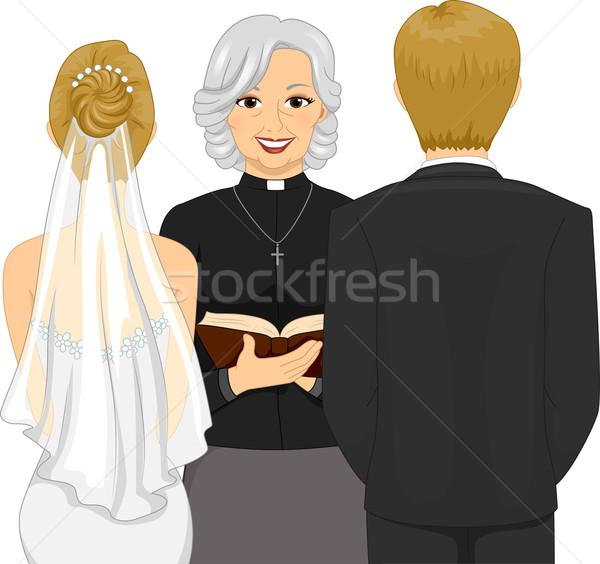 Свадебная церемония вид сзади иллюстрация женщины священник женщину Сток-фото © lenm