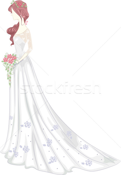Shabby Chic Wedding Gown Stock photo © lenm