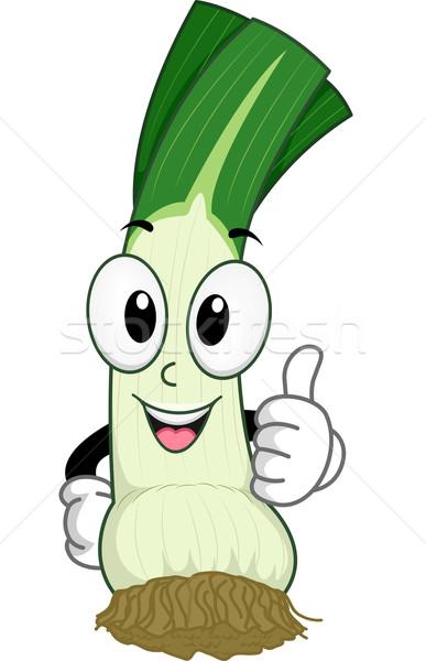 Alho-porro mascote ilustração comida vegetal Foto stock © lenm
