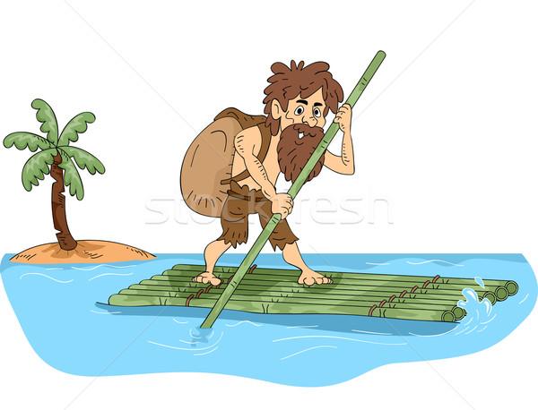 Illustrazione maschio bambù zattera isola Foto d'archivio © lenm