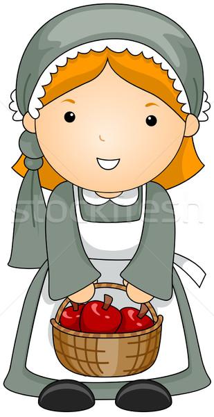 Zarándok illusztráció nő jelmez lány kosár Stock fotó © lenm