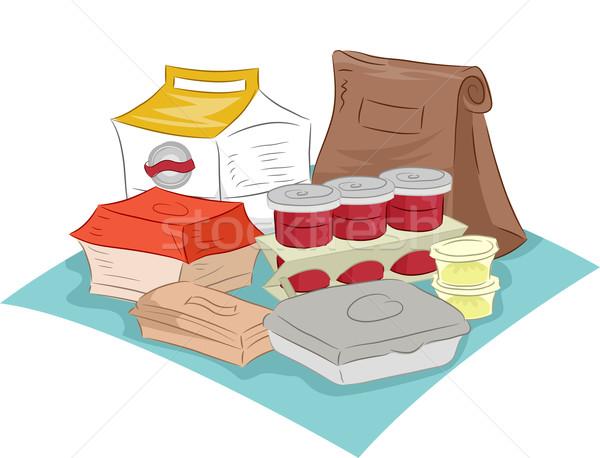 Gyorsételek illusztráció különböző dobozok csomagolás izolált Stock fotó © lenm