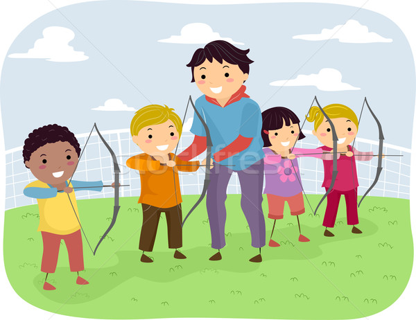 Gyerekek íjászat lecke illusztráció elvesz leckék Stock fotó © lenm