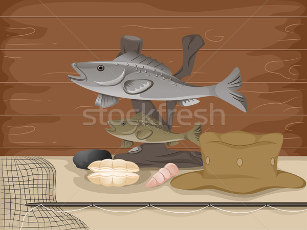 Taxidermia pescaria ilustração recheado peixe acima Foto stock © lenm
