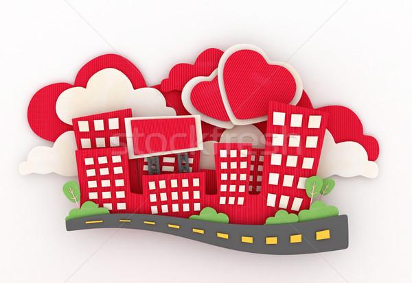 Papel escultura ilustração 3d mini cidade amor Foto stock © lenm