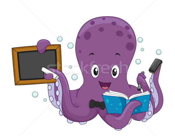 Polpo insegnante illustrazione iscritto bordo lettura Foto d'archivio © lenm
