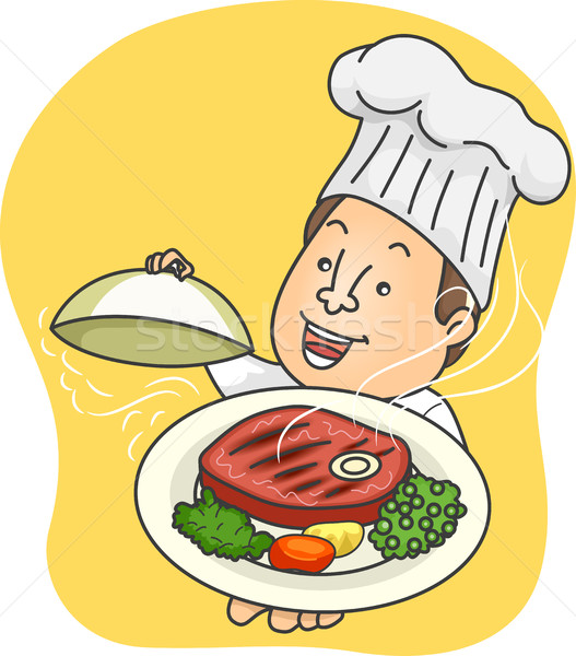 Man Chef Presenting Steak Platter Stock photo © lenm