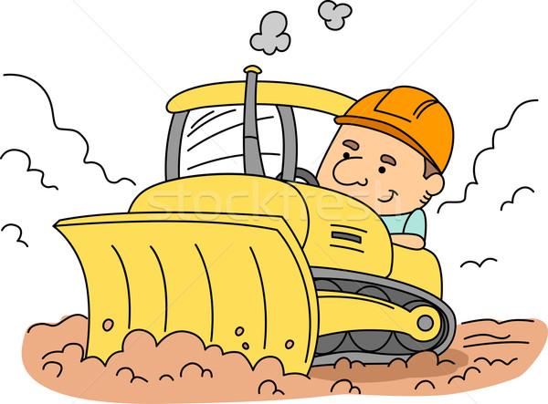 Escavadeira ilustração homem trabalhar masculino conduzir Foto stock © lenm