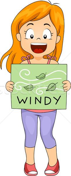 Windy Flashcard Stock photo © lenm