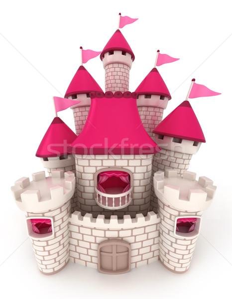 Castelo ilustração 3d belo desenho animado bandeiras ilustração Foto stock © lenm