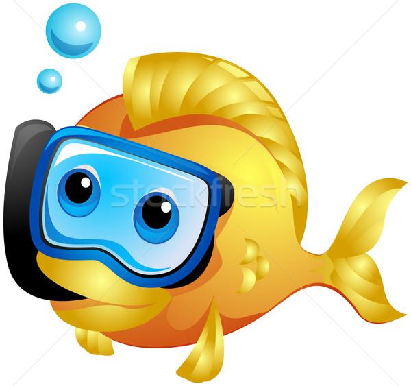 Hal snorkeling vágási körvonal úszik vízalatti rajz Stock fotó © lenm