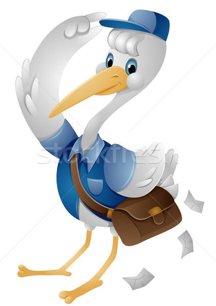 Cegonha carteiro desenho animado entrega bonitinho Foto stock © lenm