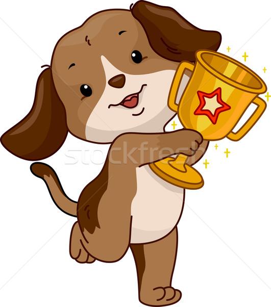Hond trofee illustratie cute digitale dier Stockfoto © lenm