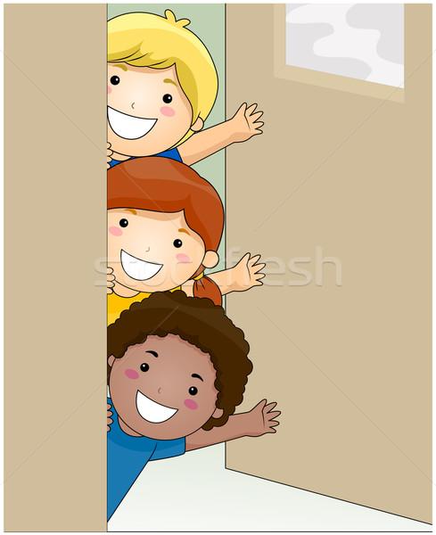 Gyerekek integet bent osztályterem vágási körvonal lány Stock fotó © lenm