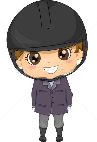 Lovas fiú illusztráció visel gyerek fiatal Stock fotó © lenm