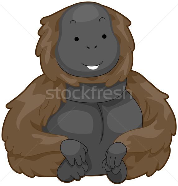 Emberszabású majom illusztráció villanó mosoly mosolyog ül Stock fotó © lenm