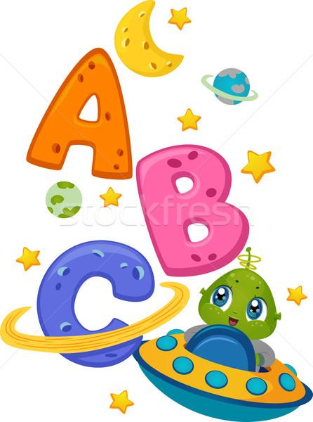 Alienígena nave espacial ilustração cartas alfabeto Foto stock © lenm
