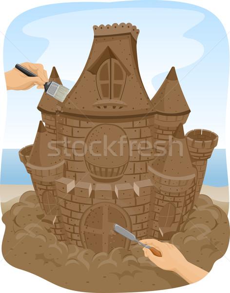 Mains sable sculpture château illustration personnes Photo stock © lenm